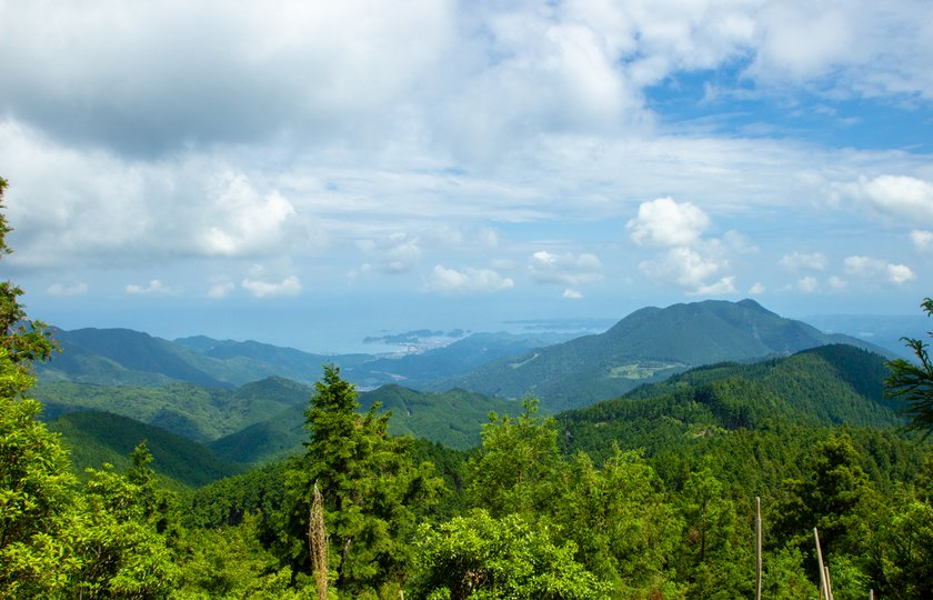 View of mountains on the Kumano Kodo